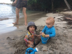 Digging sandy holes