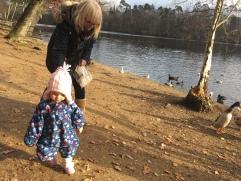 Feeding the ducks with Nannie Bev